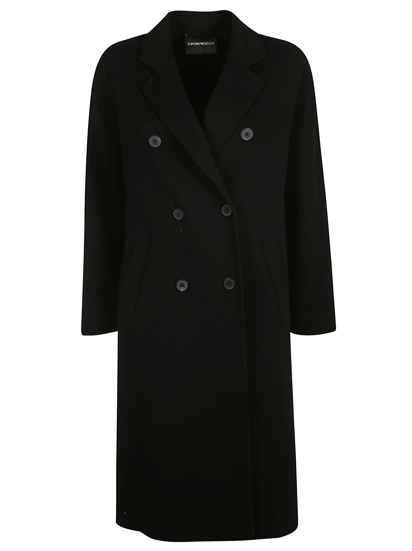 Photo of  Emporio Armani Double Breasted Classic Long Coat- shop Emporio Armani jackets online sales