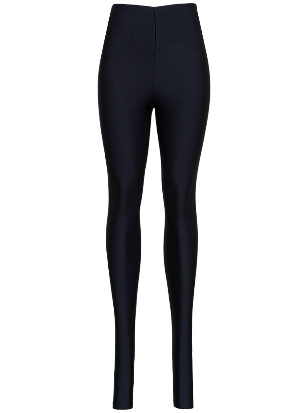 Black Holly Leggings In Shiny Stretch Fabric