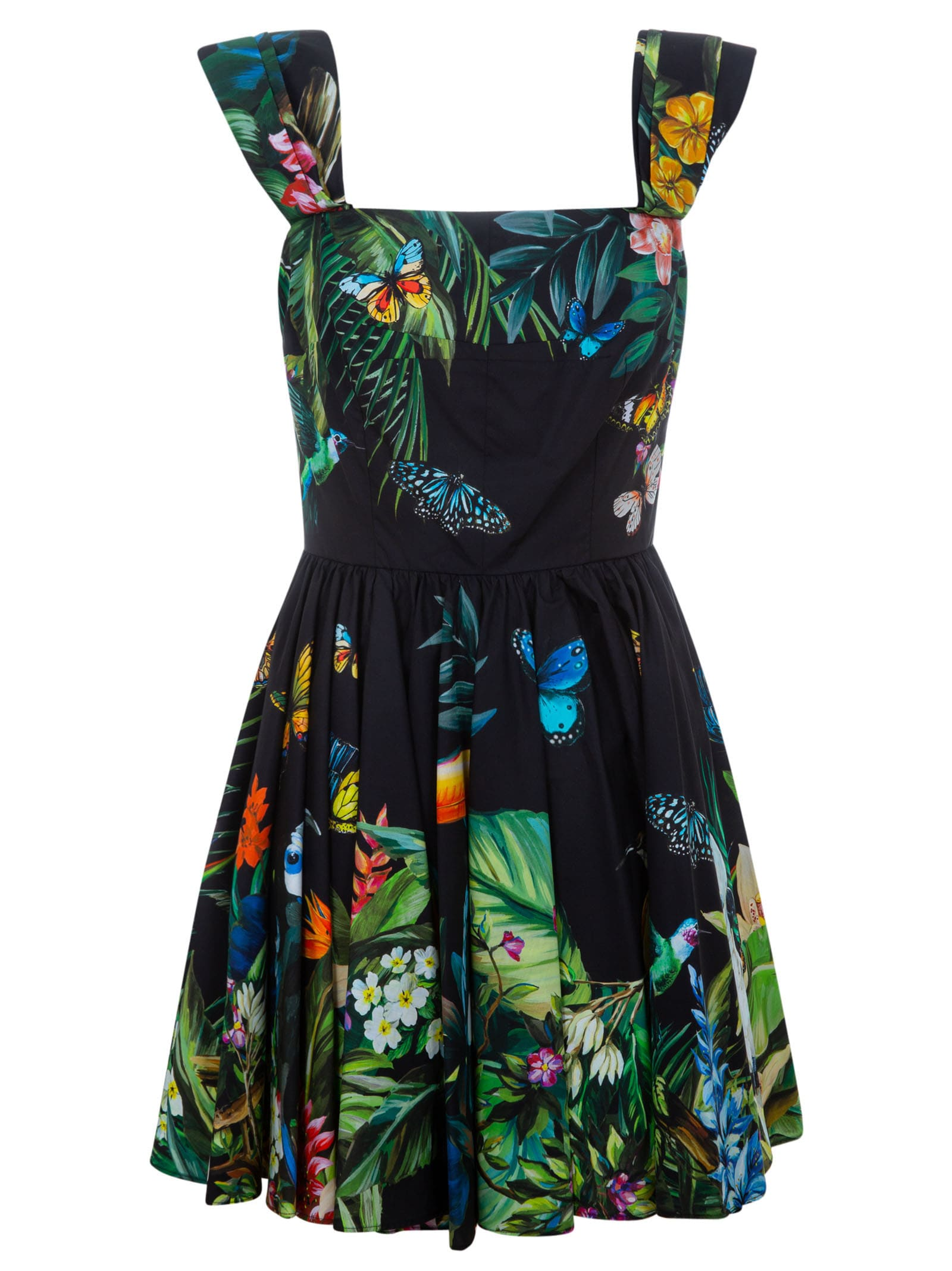 Buy Dolce & Gabbana Floral Pleated Dress online, shop Dolce & Gabbana with free shipping