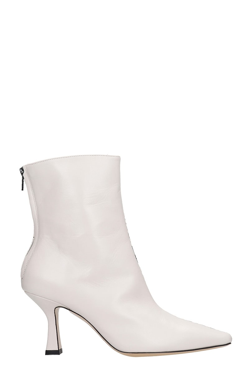 Fabio Rusconi High Heels Ankle Boots In Beige Leather
