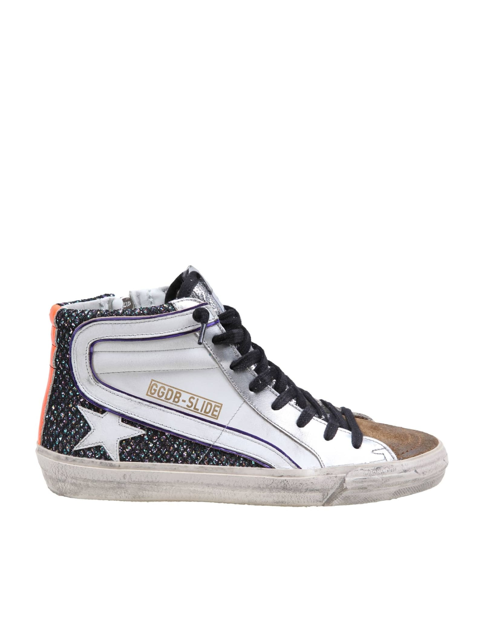 Sneakers in leather, suede and glittered mesh multicolor model with round tip closure with laces and zip ggdb star in leather suede toe interior in leather and fabric vintage treatment rubber sole made in italy