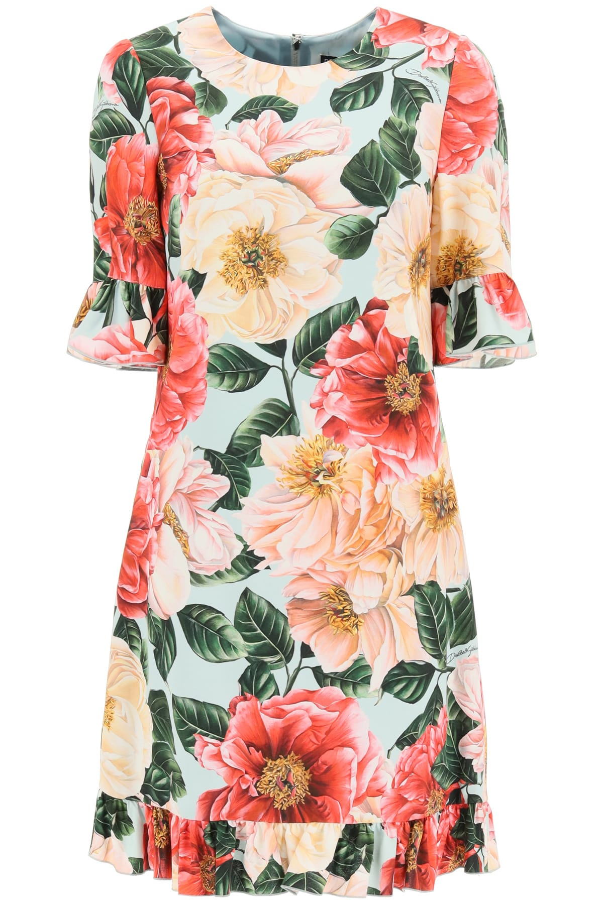 Buy Camellia Print Short Cady Dress online, shop Dolce & Gabbana with free shipping