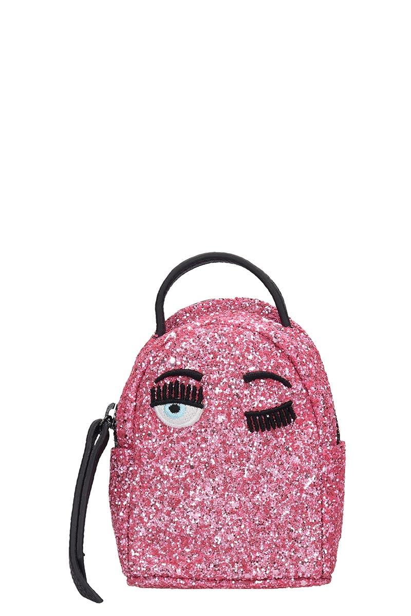 Chiara Ferragni Backpacks BACKPACK IN ROSE-PINK GLITTER