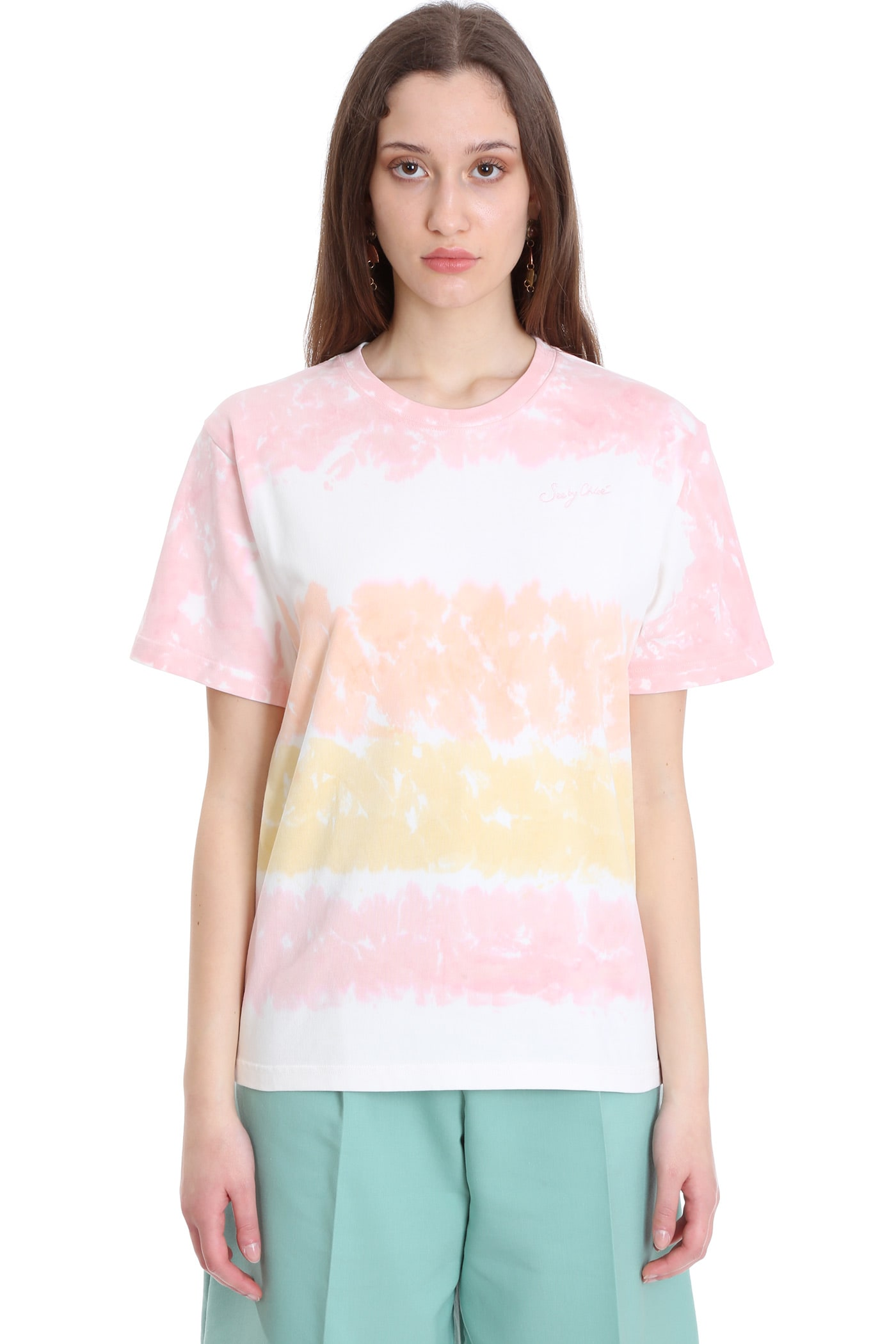 See By Chloé T-SHIRT IN MULTICOLOR COTTON