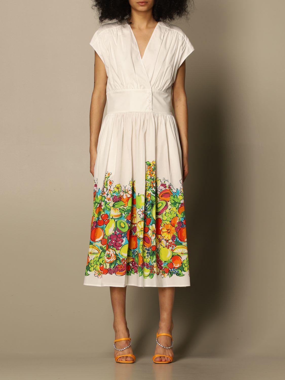 Boutique Moschino Dress Apple Print Poplin Half Sleeve Dress Boutique Moschino