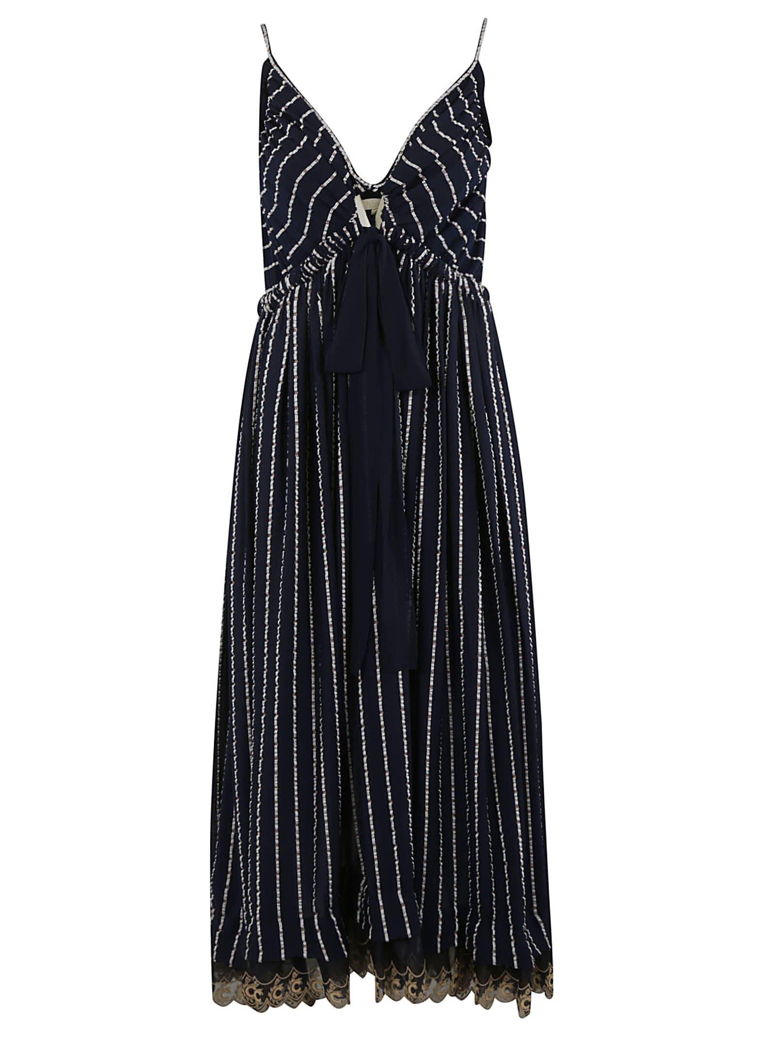 Buy Chloé Stripe Detail Maxi Dress online, shop Chloé with free shipping