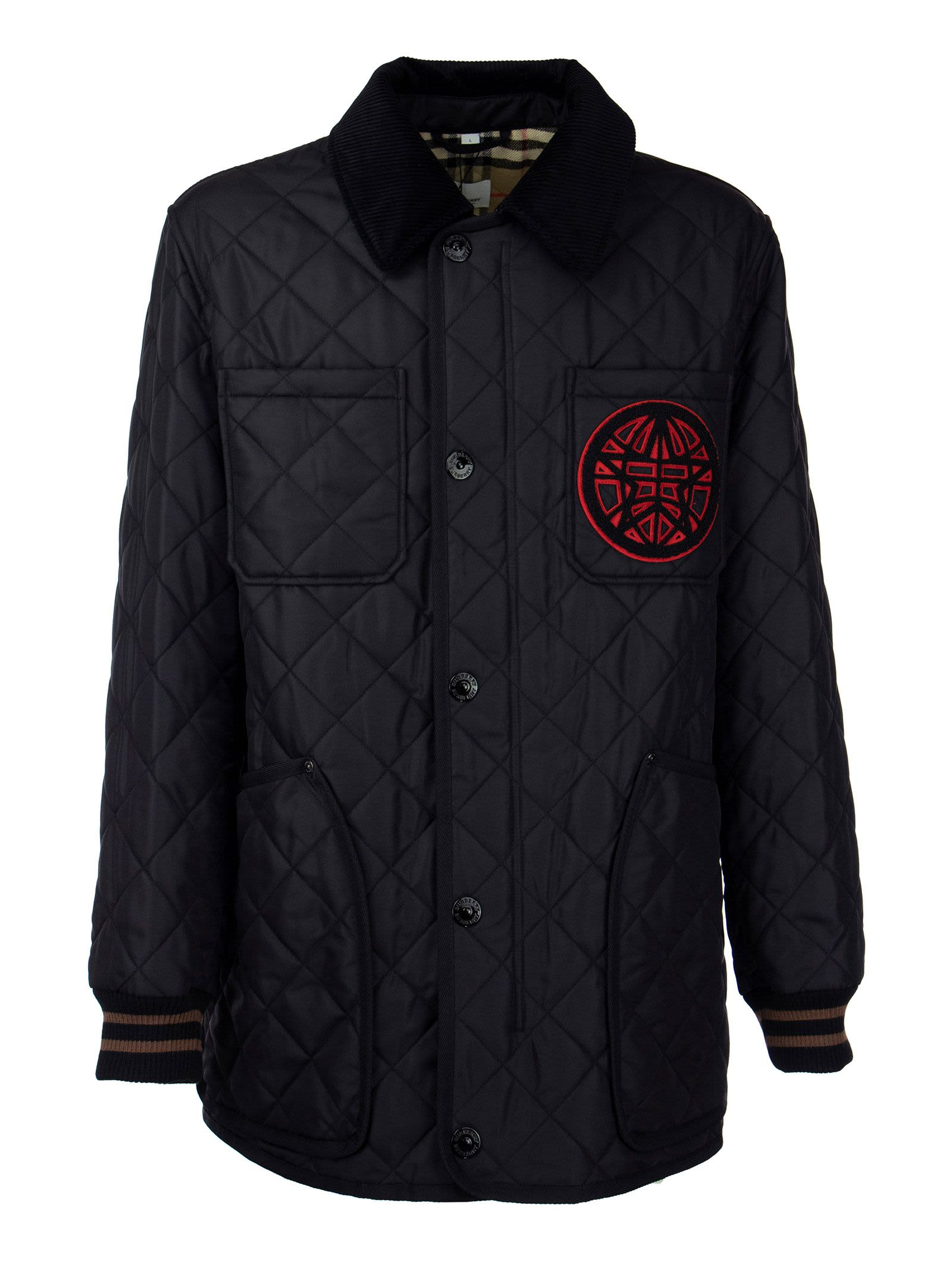 Burberry Jackets VARSITY GRAPHIC DIAMOND QUILTED BARN JACKET LANGLEY