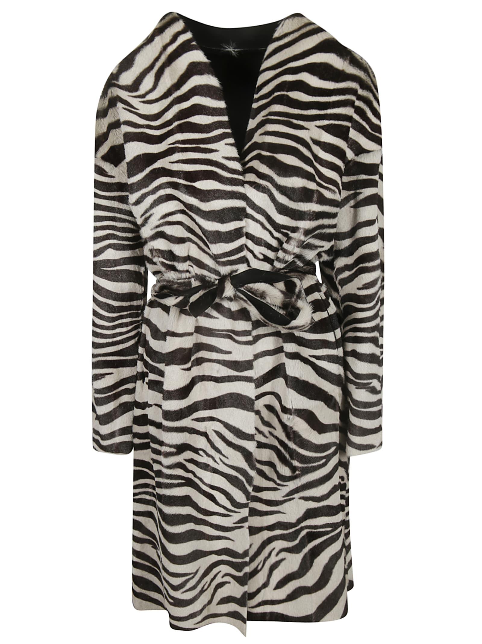 Salvatore Santoro Zebra Print Belted Tie Coat