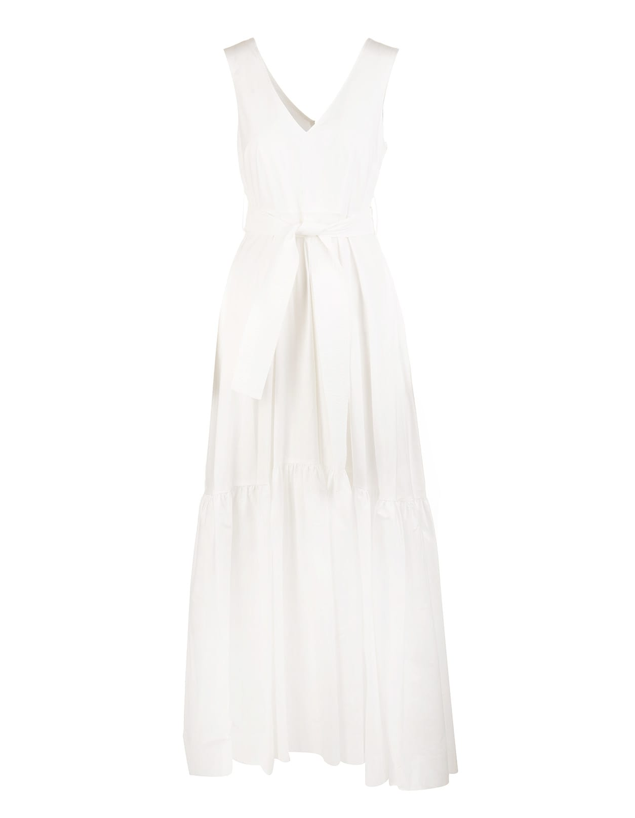 A.R.O.H. long dress in white cotton with front and back V-neck, armholes, soft skirt with horizontal bands, back zip closure and waist highlighted by a belt in tone with front knot. Composition: 100% Cotton