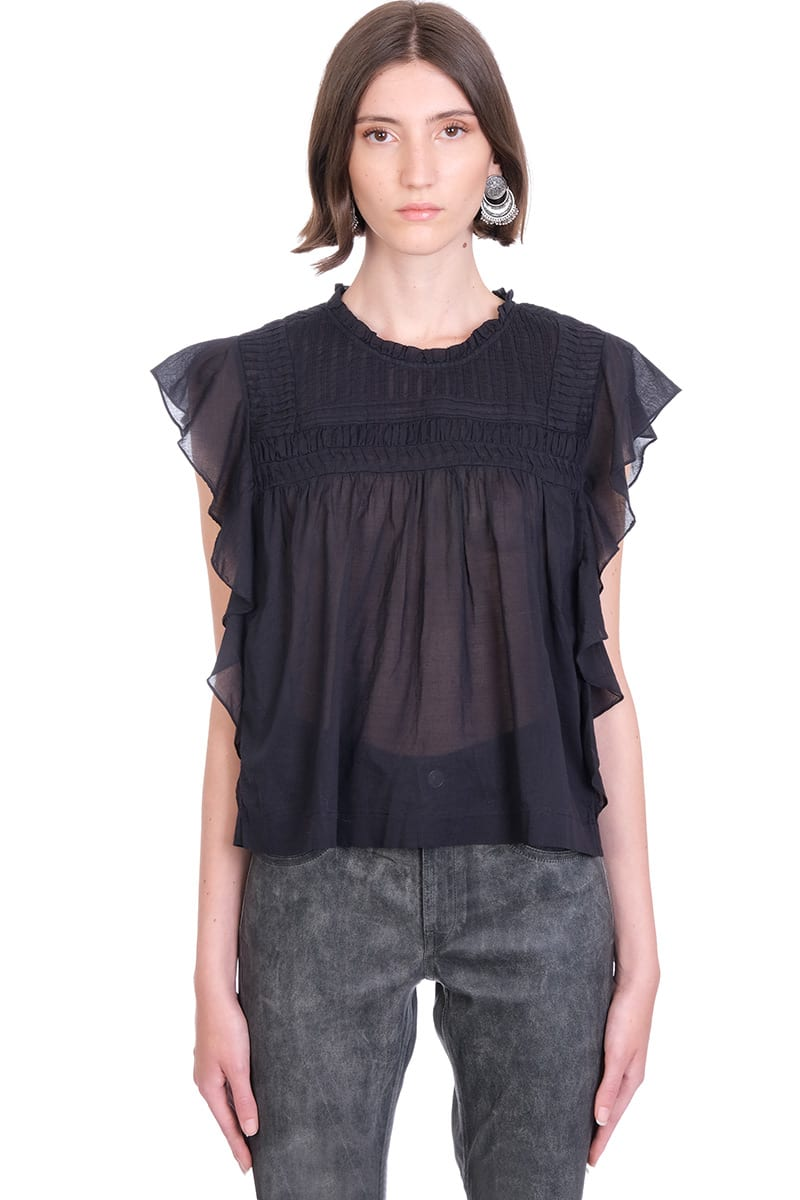 Etoile Isabel Marant Cottons LAYONA TOPWEAR IN BLACK COTTON