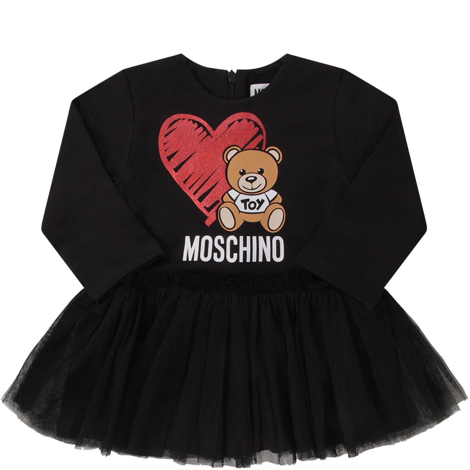 Moschino Black Babygirl Dress With Colorful Teddy Bear