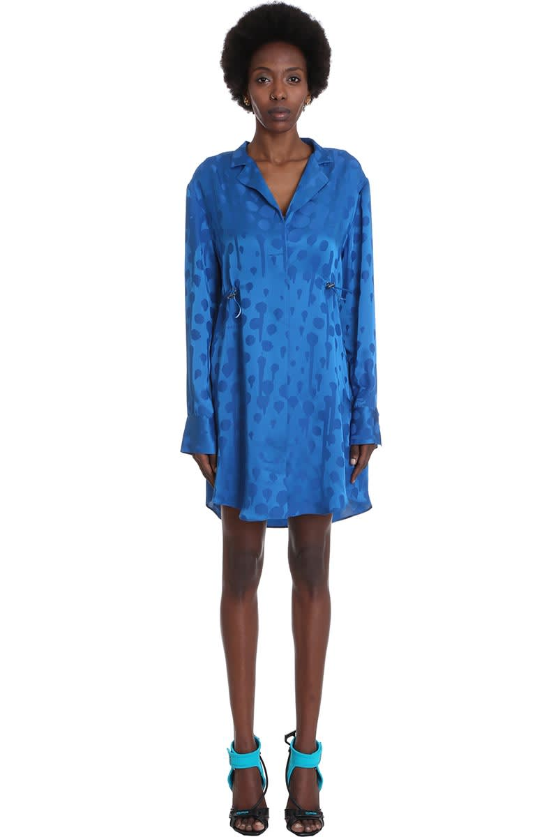 Buy Off-White Jacquard Coulis Dress In Blue Viscose online, shop Off-White with free shipping