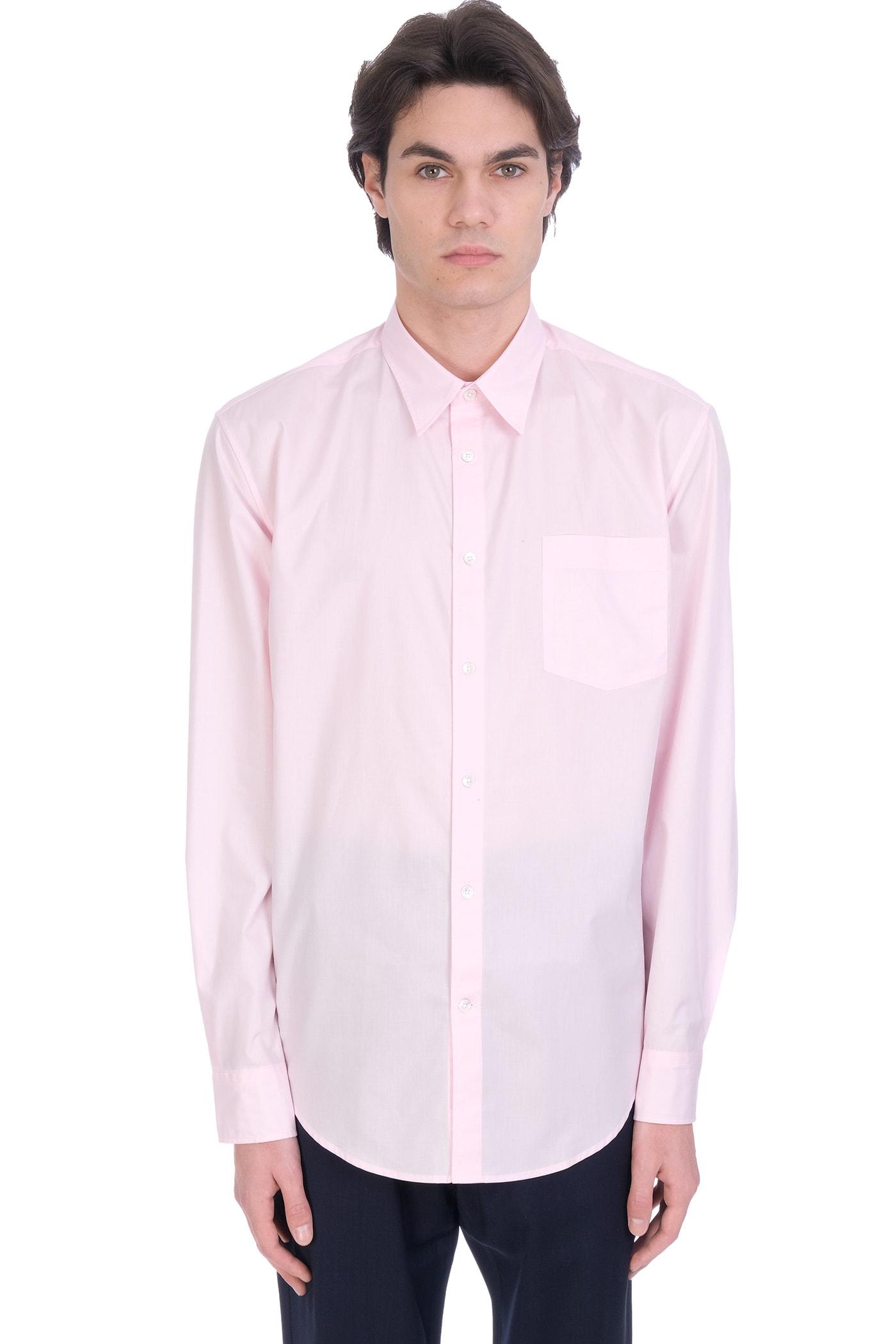 Shirt In Rose-pink Cotton