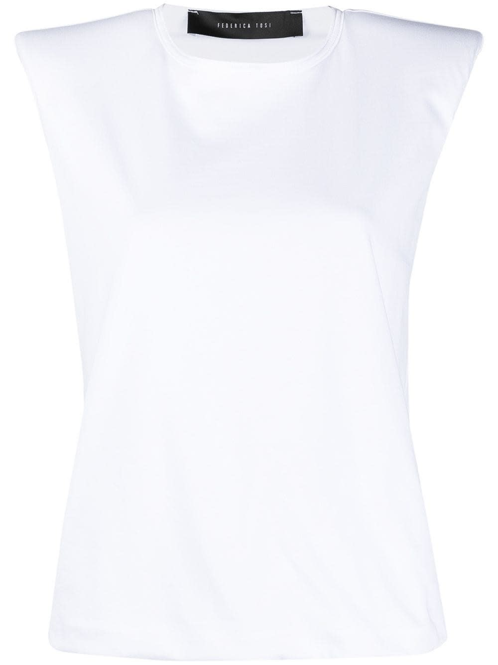 Federica Tosi COTTON T-SHIRT WITH PADDED SHOULDERS