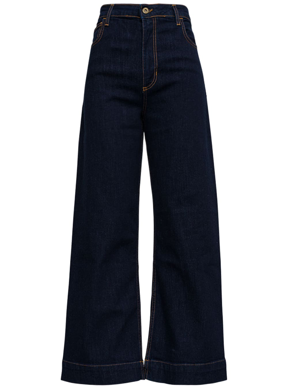 Wide Leg Blue Denim Jeans