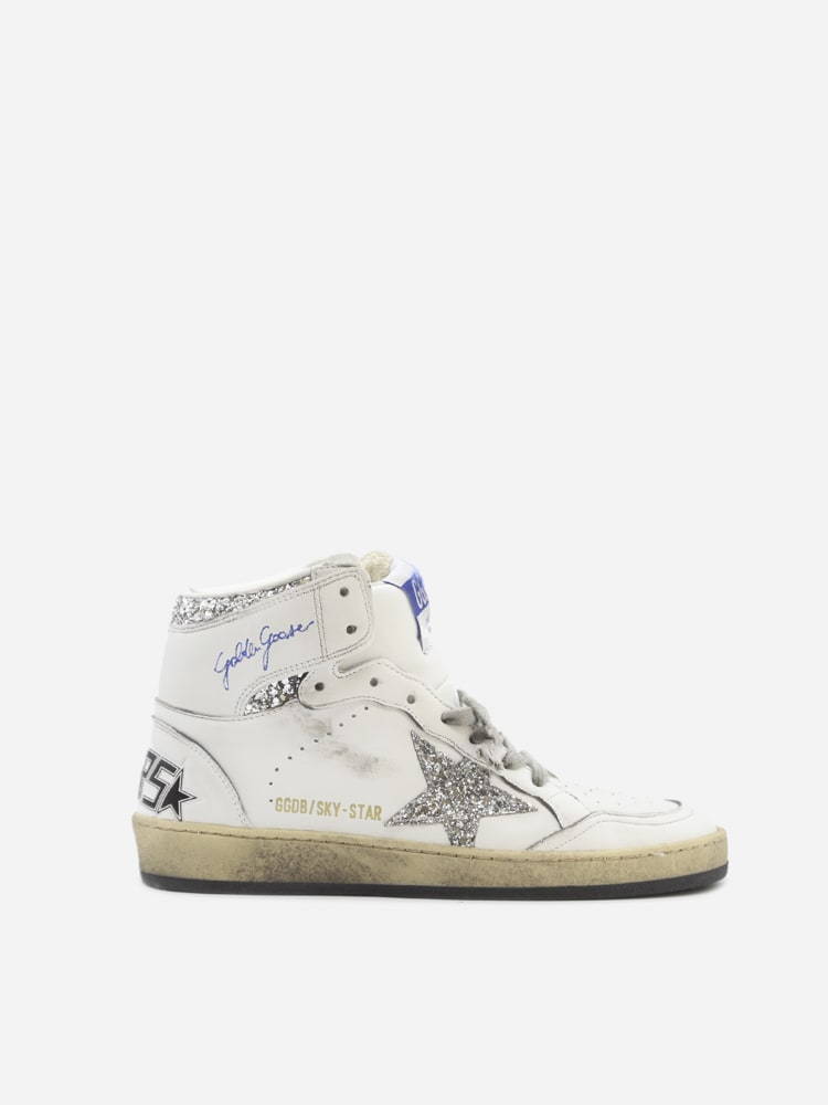 Golden Goose Sky-star Sneakers In Leather With Glitter Inserts