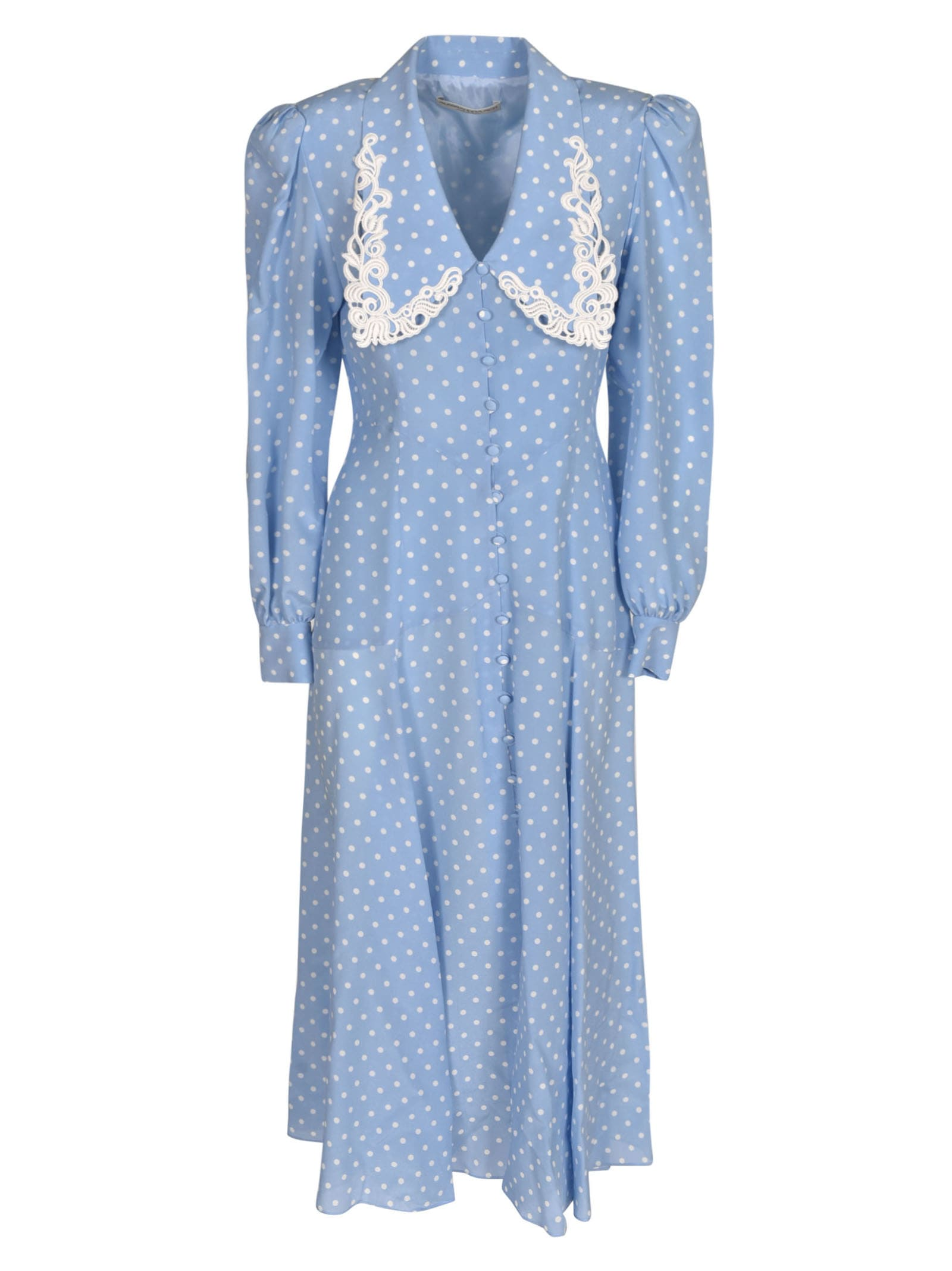 Buy Alessandra Rich Dotted Print Long Dress online, shop Alessandra Rich with free shipping