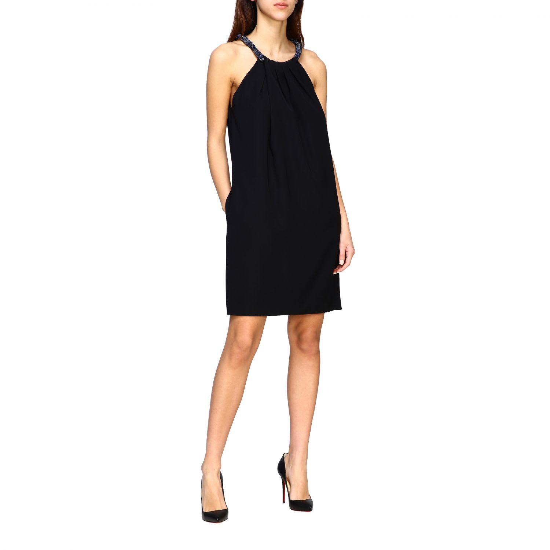 Buy Emporio Armani Dress Emporio Armani Dress With American Neckline And Micro Appliqué online, shop Emporio Armani with free shipping
