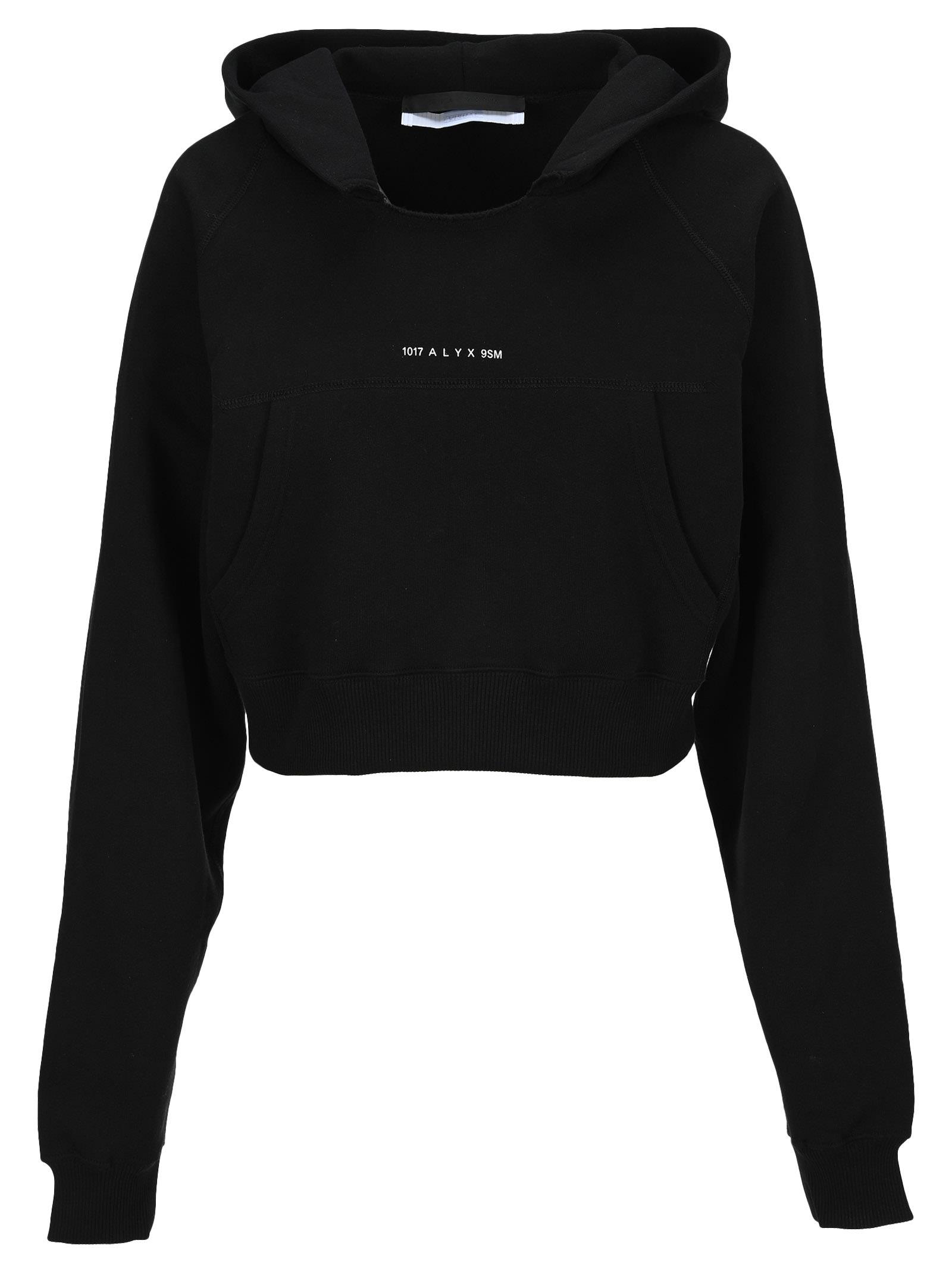 Alyx Logo-print Cropped Hoodie In Black