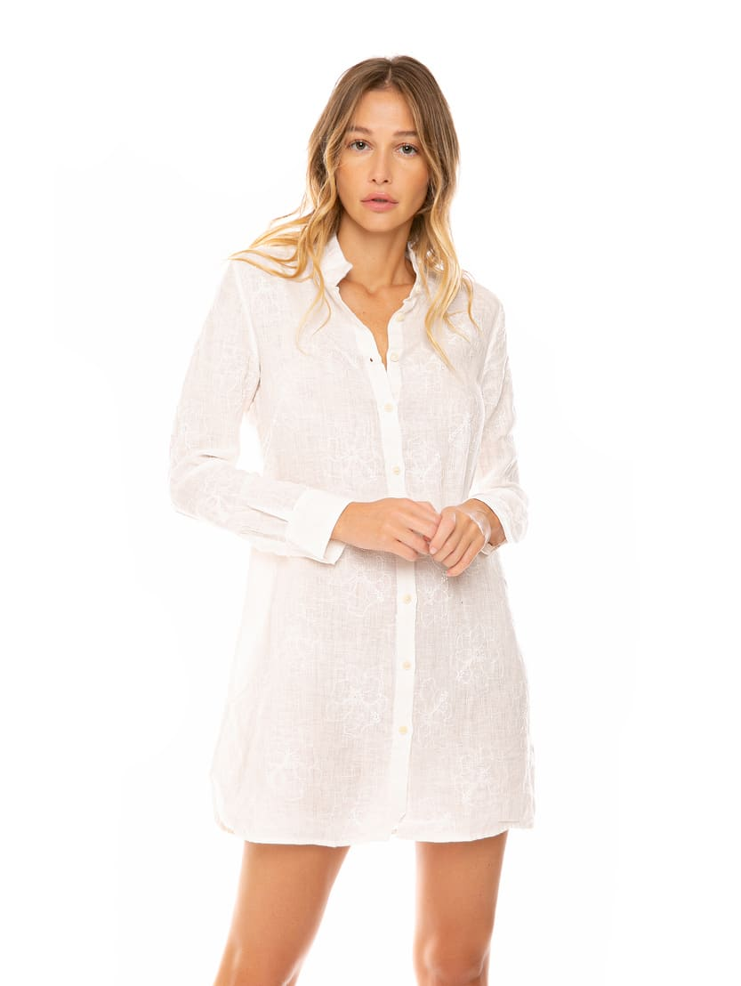 Buy Embroidered Linen Shirt Dress online, shop MC2 Saint Barth with free shipping