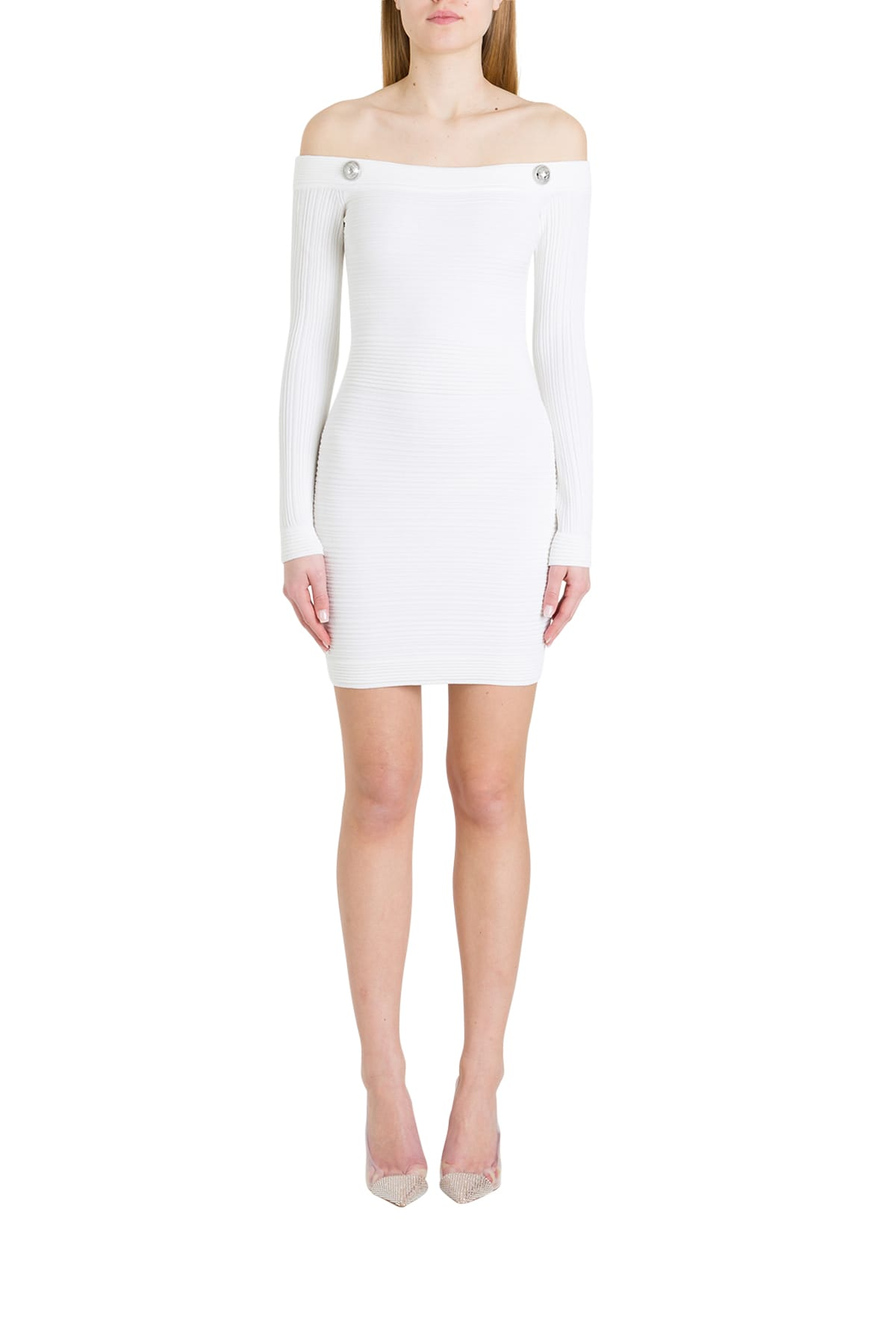 Buy Balmain Off-the-shoulder Dress In Ribbed Knit online, shop Balmain with free shipping