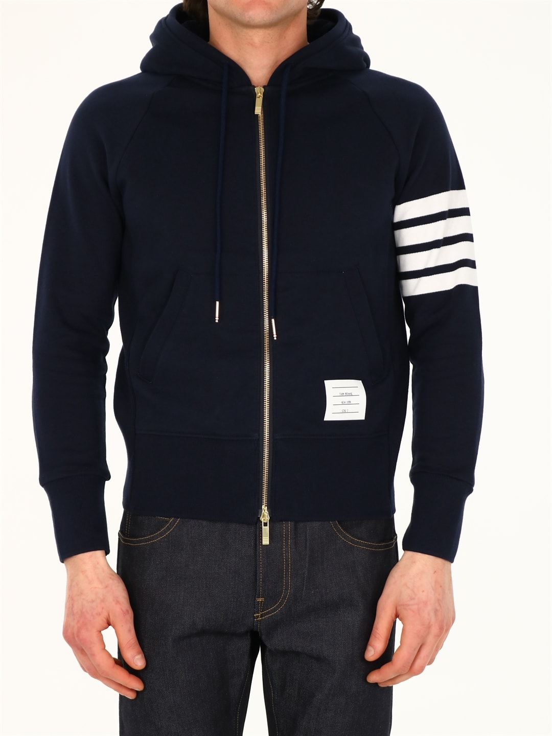 Thom Browne Cottons BLUE COTTON HOODIE 4-BAR