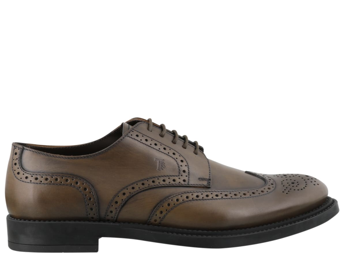 man lace up shoes, derby model, string closure- Composition: 100% Calf Leather/ Rubber Sole