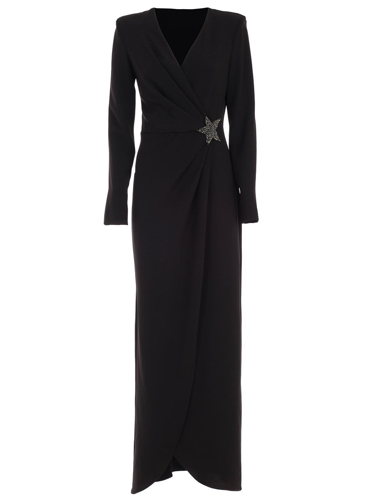 Parosh Dress 3 & 4s Long W & brooch Paillettes
