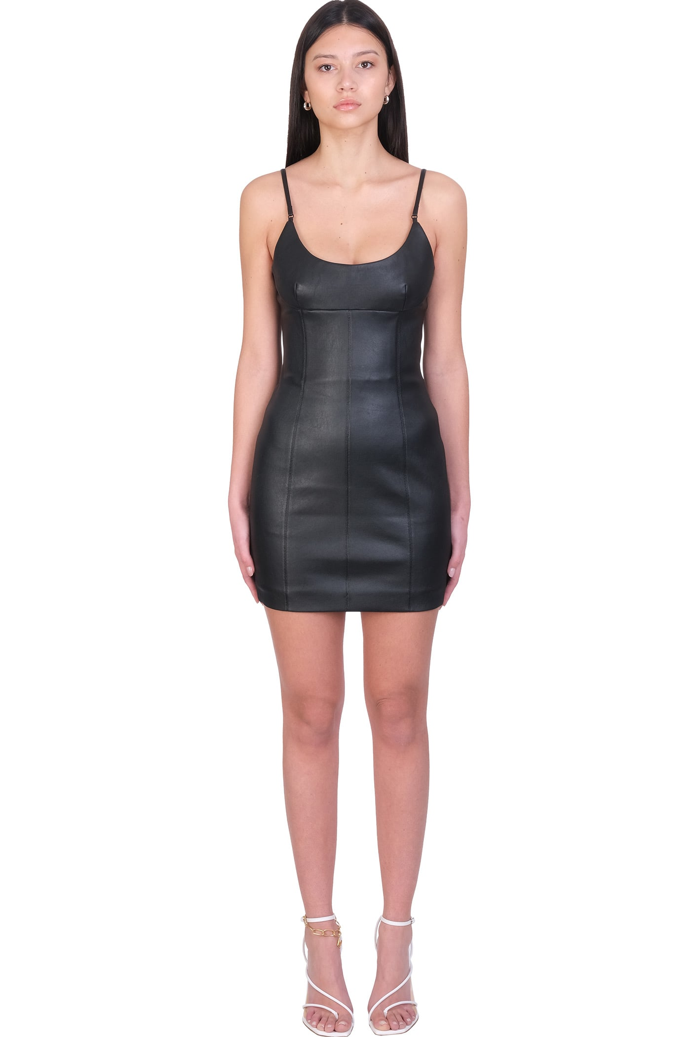 Buy Alexander Wang Dress In Black Leather online, shop Alexander Wang with free shipping