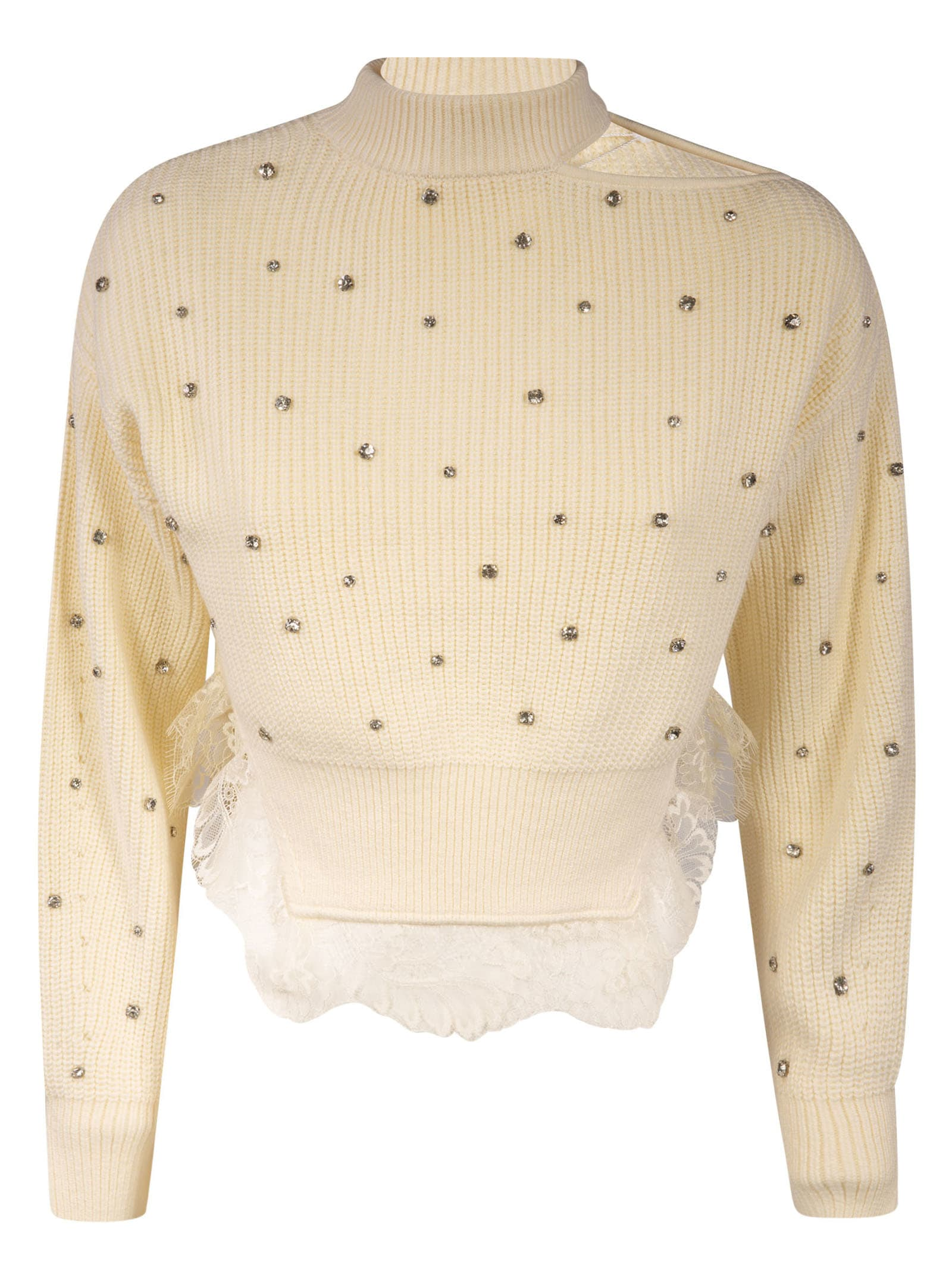 self-portrait Crystal-embellished Ivory Knit Jumper
