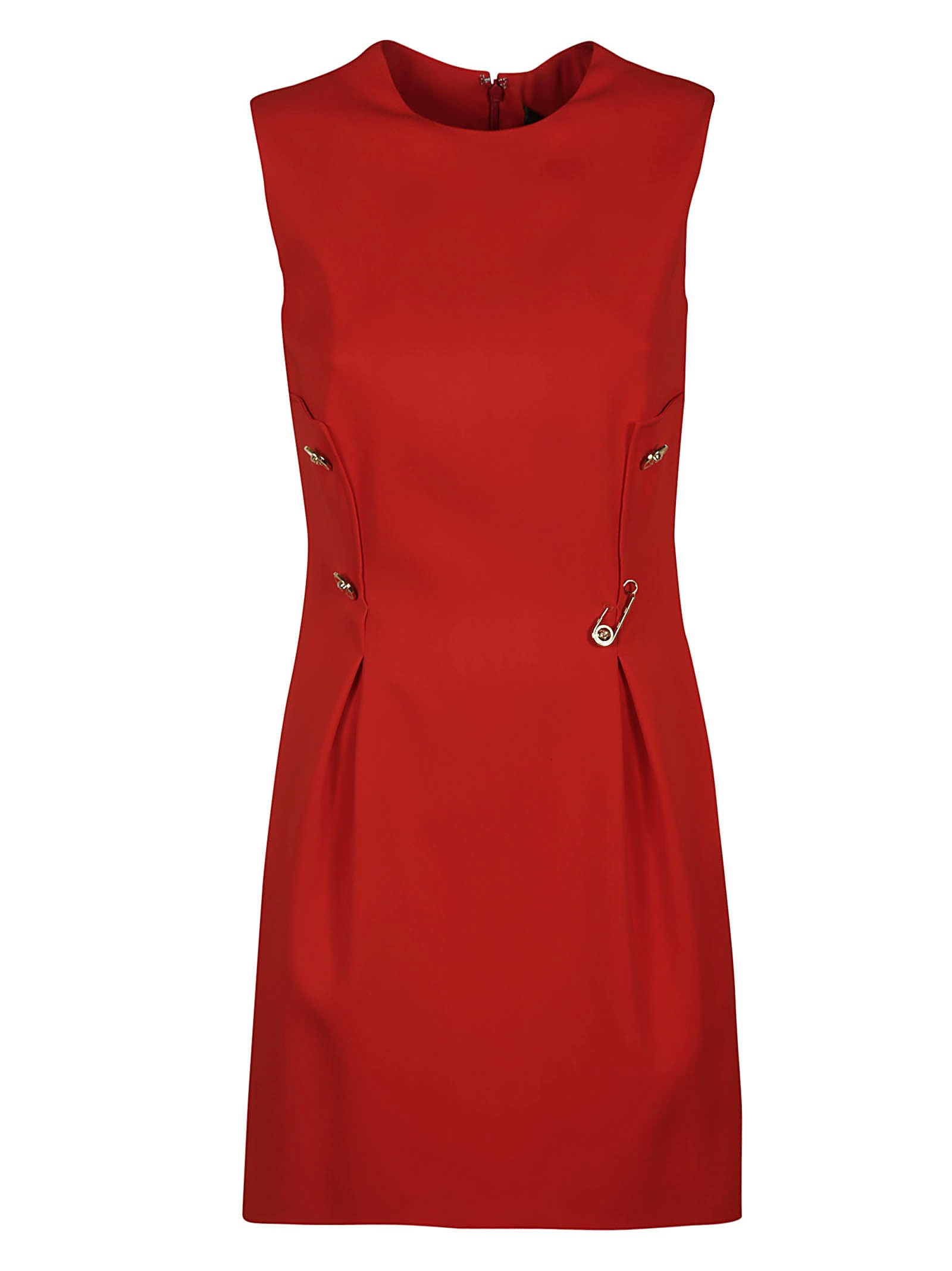 Versace Safety Pin Embellished Sleeveless Dress