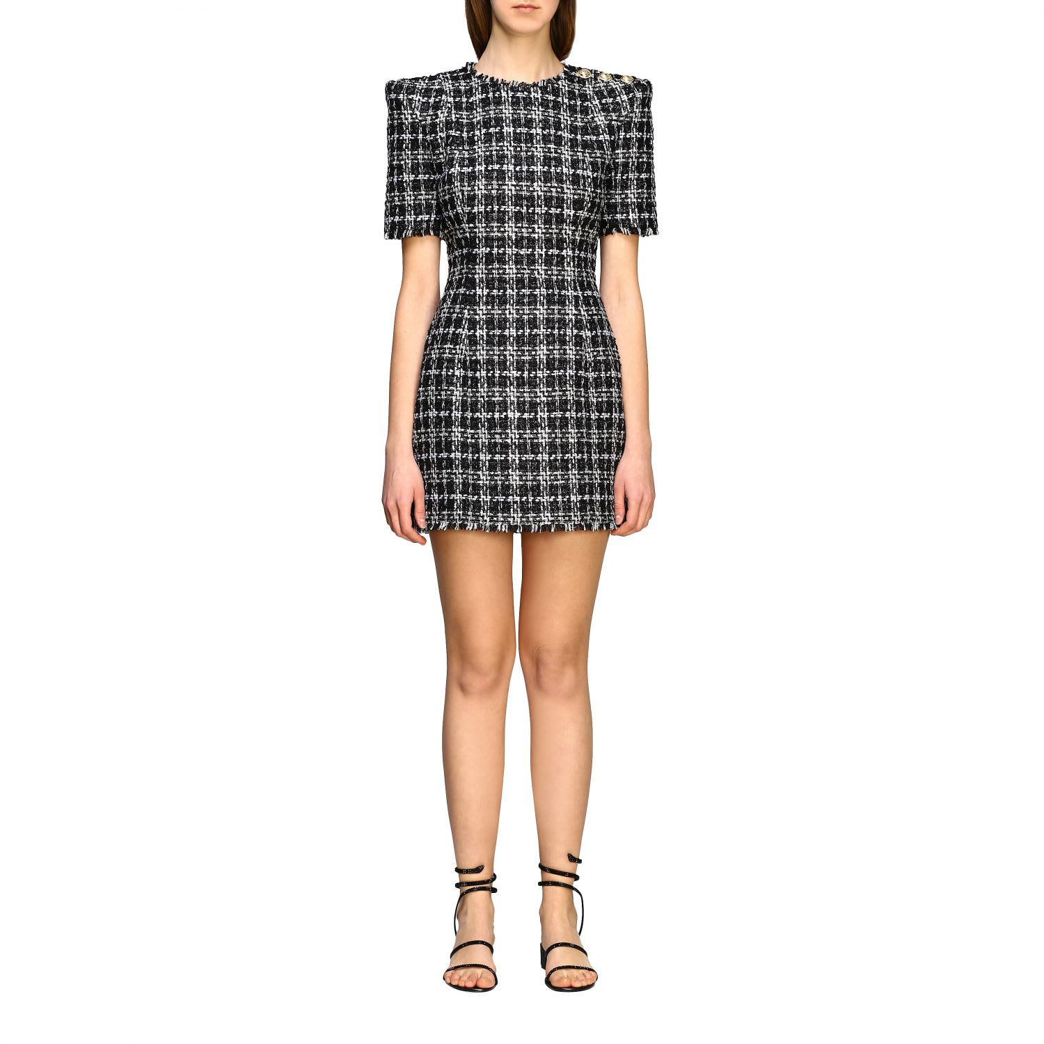 Buy Balmain Dress Balmain Short-sleeved Dress In Lurex Bouclè Fabric With Buttons online, shop Balmain with free shipping