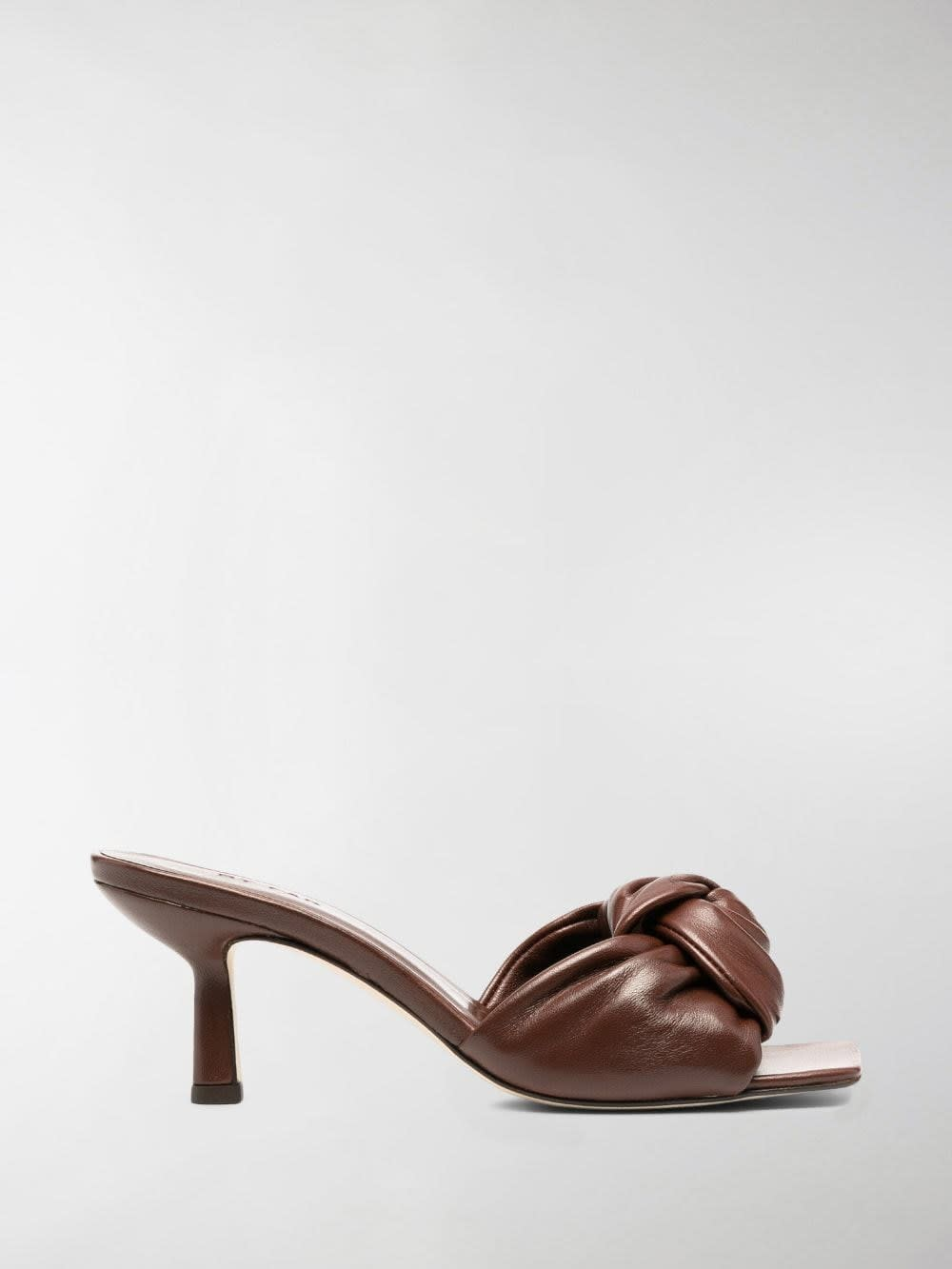 By Far LANA BROWN LEATHER MULES
