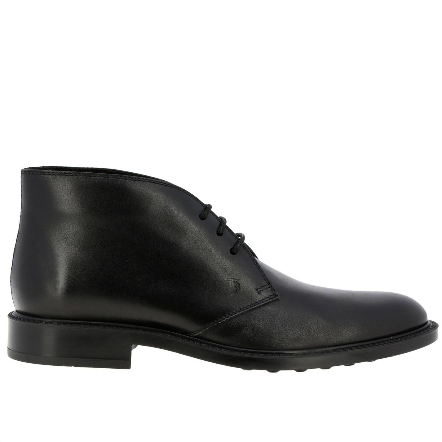 Tods Chukka Boots Tods Lace-up Boots In Smooth Leather With Rubber Sole