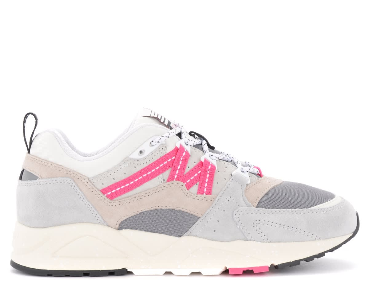 Fusion 2.0 Sneakers In Suede And Gray And Fuchsia Fabric
