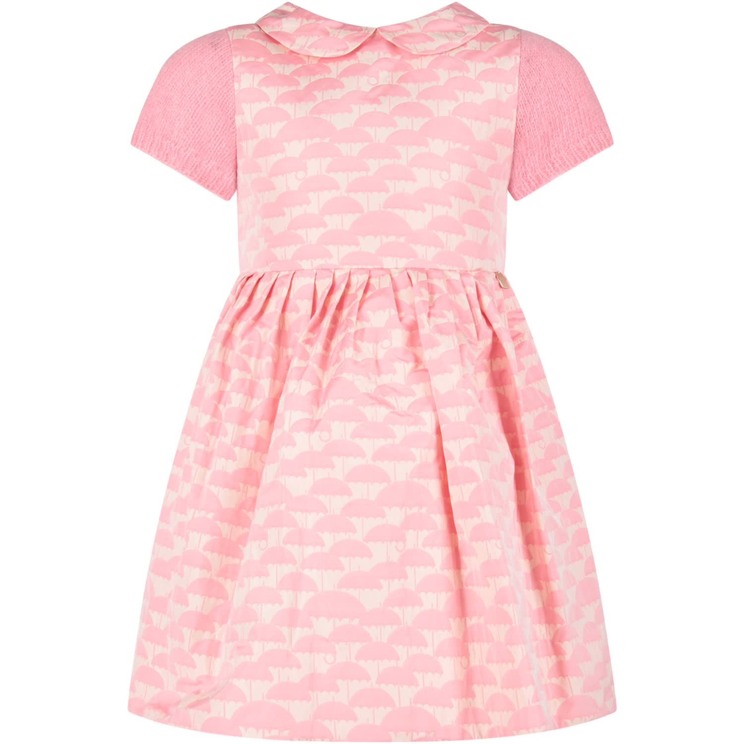 Simonetta Pink Girl Dress With Umbrellas