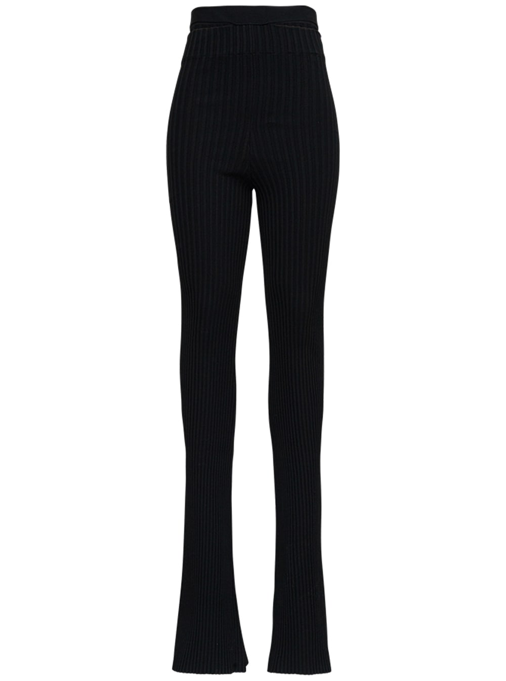 Ribbed Flared Pants In Viscose Blend