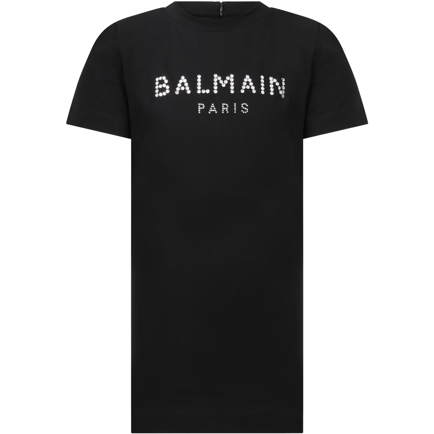 Balmain BLACK DRESS FOR GIRL WITH LOGO