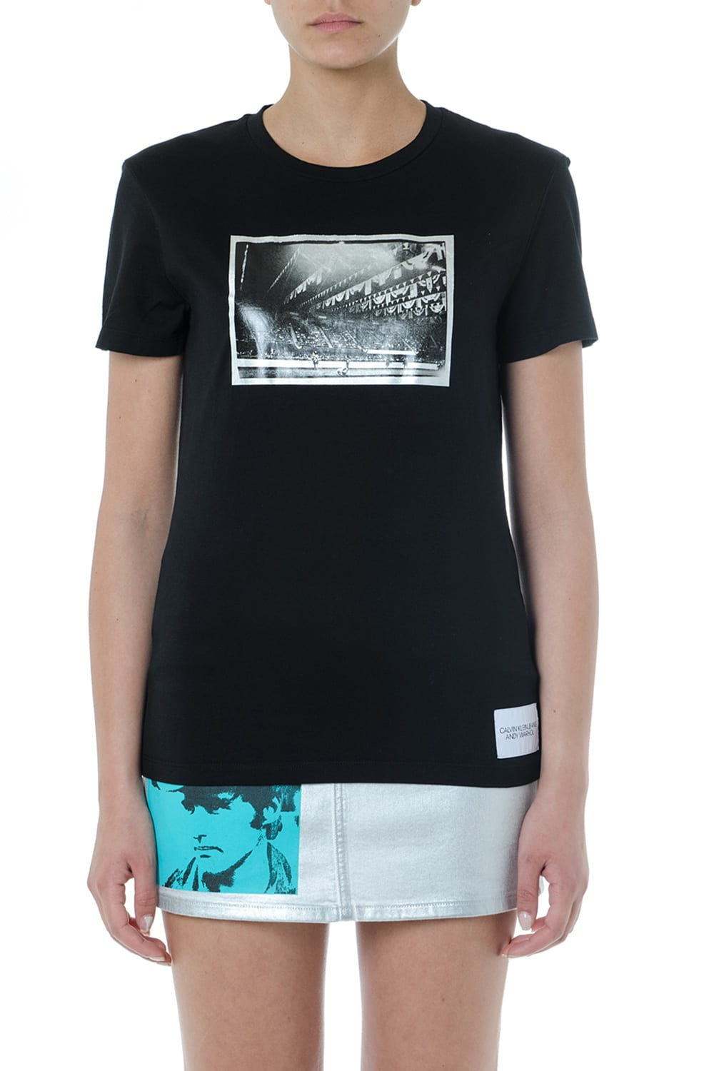 Calvin Klein Jeans Black Cotton Printed T Shirt