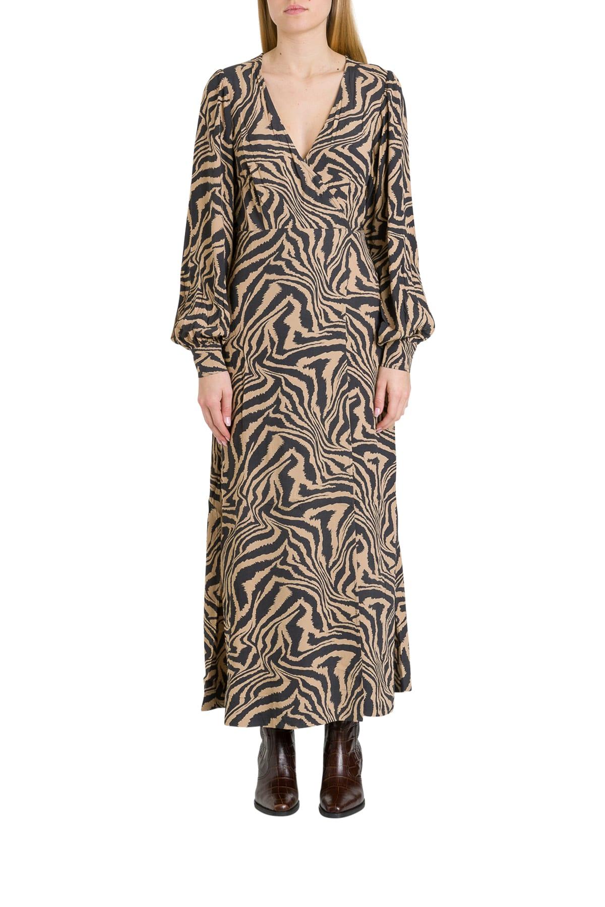 Buy Ganni Optical Long Wrap Dress online, shop Ganni with free shipping