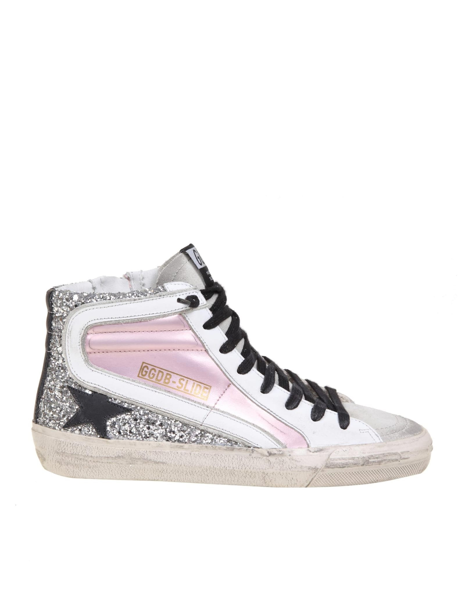 Golden Goose SLIDE IN LAMINATED LEATHER AND SUEDE