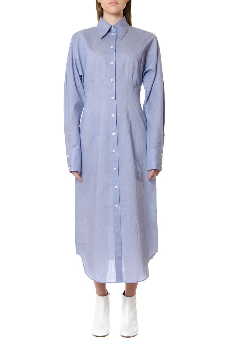 Buy Acne Studios Oversize Powder Blue Shirt Dress online, shop Acne Studios with free shipping