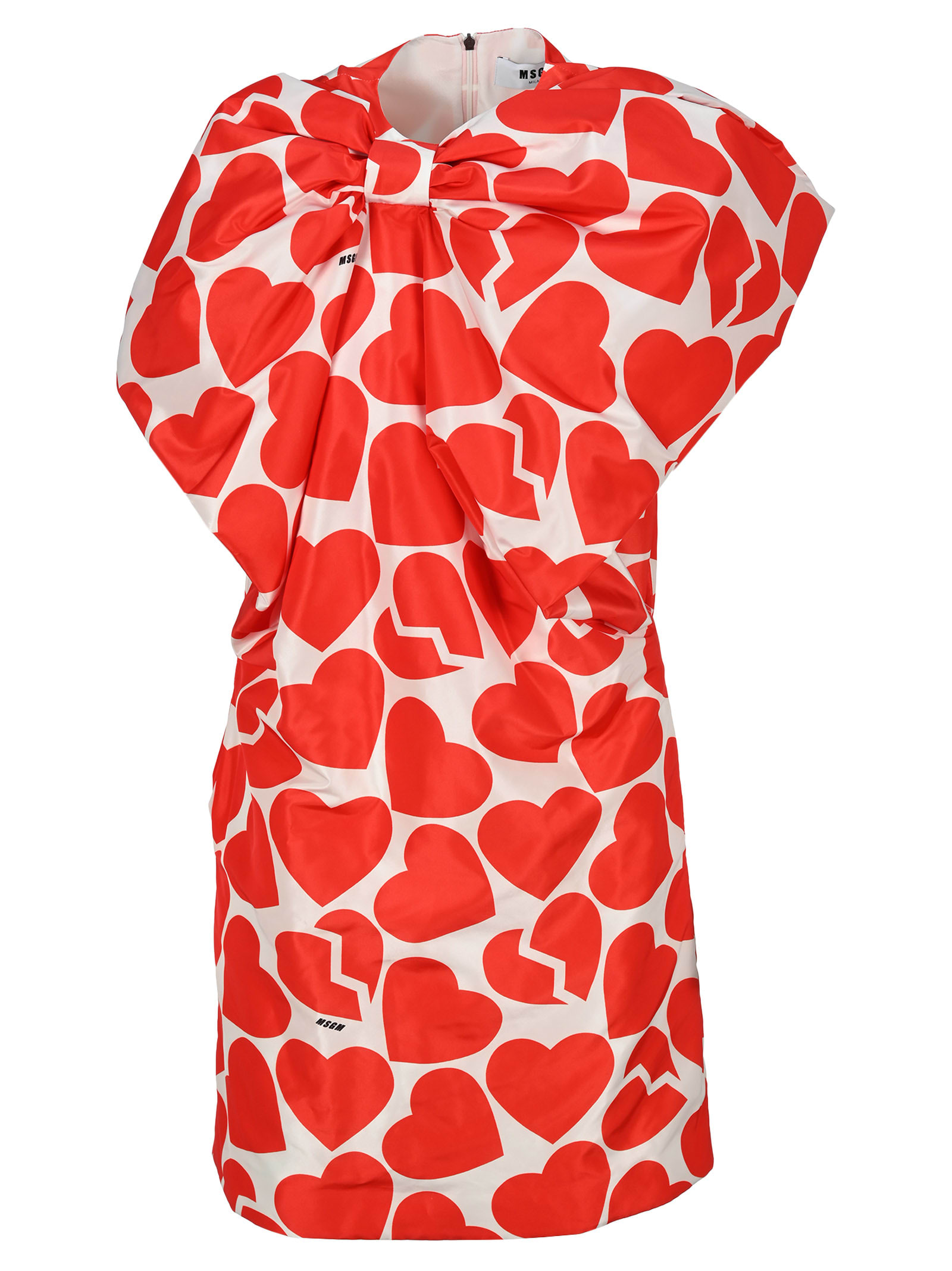 Msgm Hearts Print Bow Dress