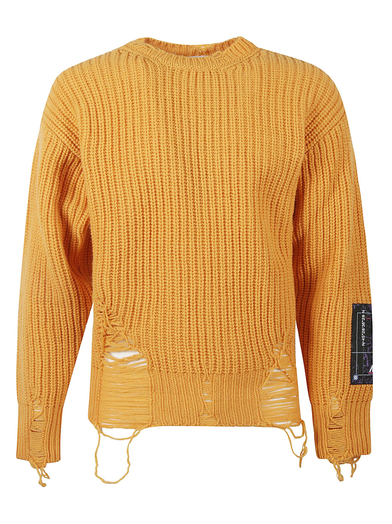Msgm Logo Patch Distressed Effect Rib Knit Pullover In Orange
