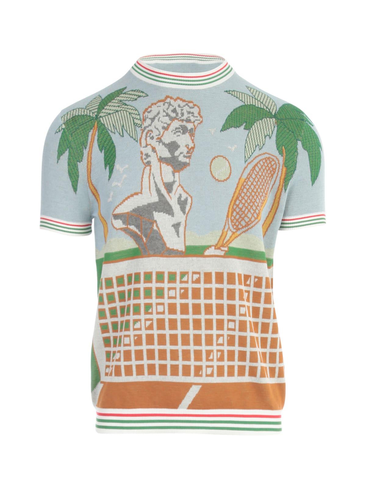 Casablanca T-shirts DEUCE BIRDS EYE JACQUARD KNIT TEE