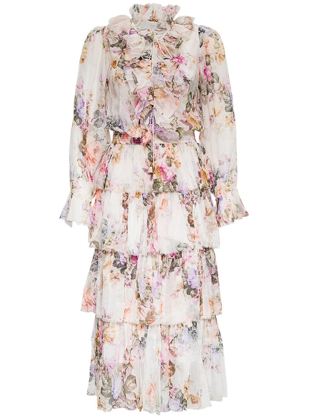 Buy Zimmermann Zella Floral Silk Long Dress online, shop Zimmermann with free shipping