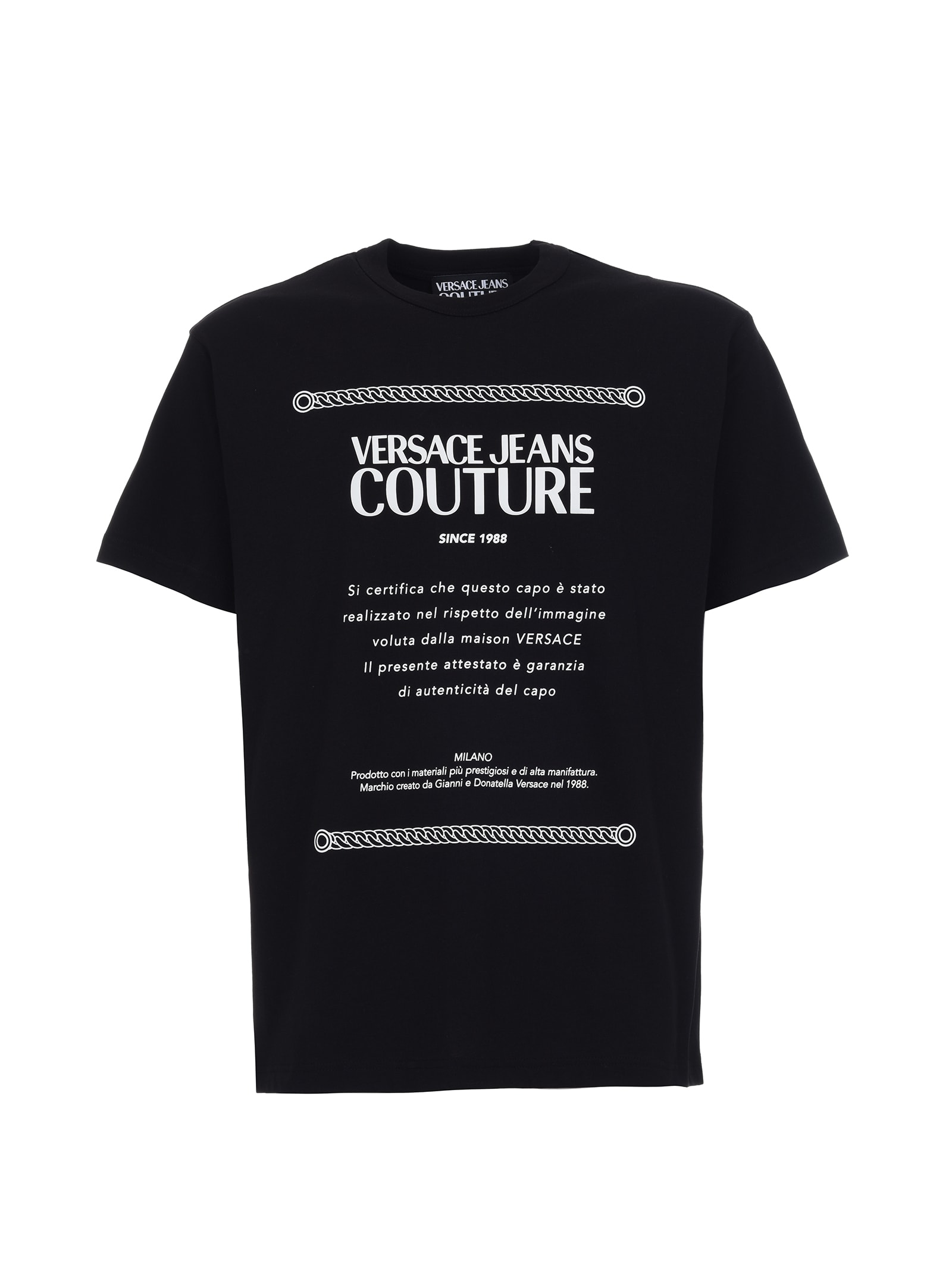 Versace Jeans Couture Classic Black T-shirt With White Logo In Nero