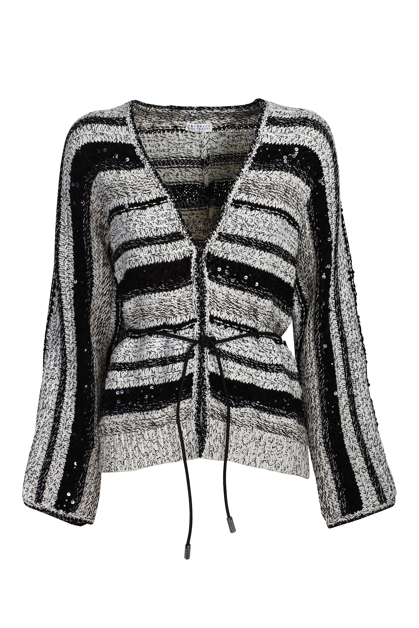 Brunello Cucinelli Leathers DAZZLING & CONTRAST STRIPES CARDIGAN IN COTTON AND JUTE