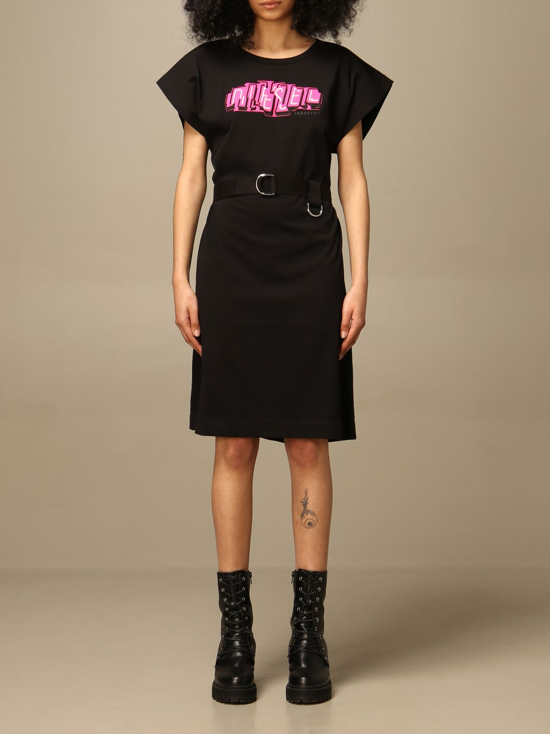 Buy Diesel Dress Diesel Short Dress In Cotton With Logo online, shop Diesel with free shipping