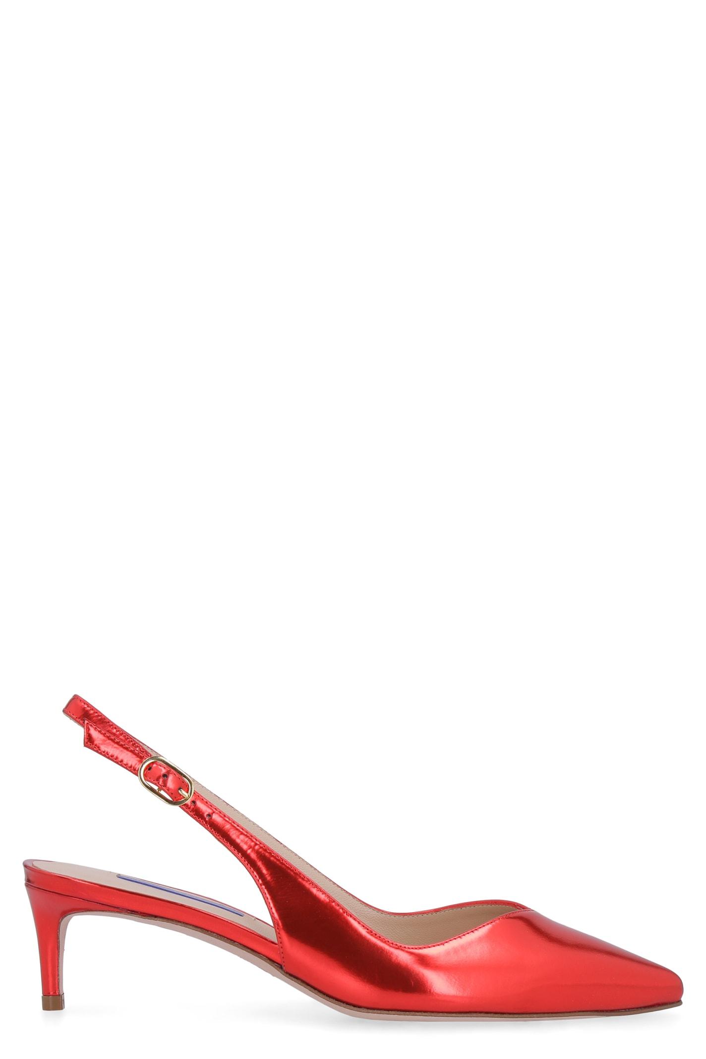 Buy Stuart Weitzman Edith Mirror Look Leather Sling-back online, shop Stuart Weitzman shoes with free shipping